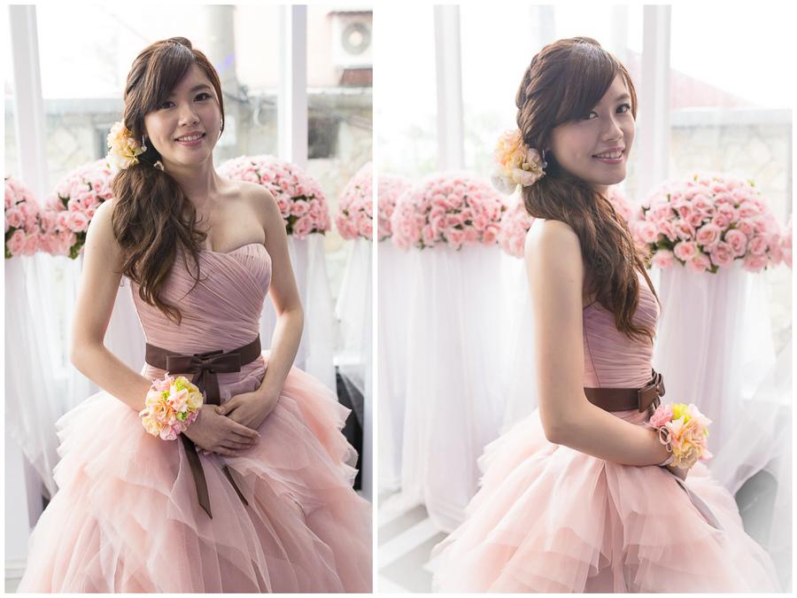 新秘Yuki│粉紅色禮服│側邊編髮│鮮花造型│新娘頭花│新娘髮型