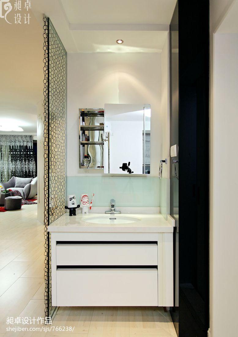 tile flooring kitchen wall hangings 现代卫生间玻璃隔断墙装修效果图 – 设计本装修效果图