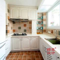 Kitchen Floor Runner Soap Dispenser Sink 混搭风格厨房地板铺砖效果图 设计本装修效果图