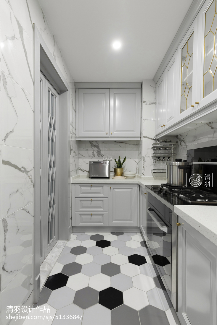 floor tile for kitchen trailer cabinets 北欧风格四居厨房地砖设计图 设计本装修效果图