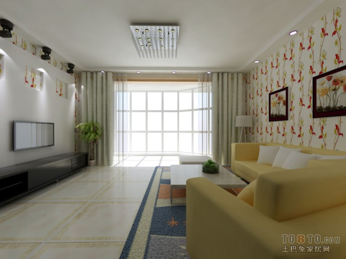 area rugs for kitchen drawer handles 现代客厅米黄地砖效果图 – 设计本装修效果图