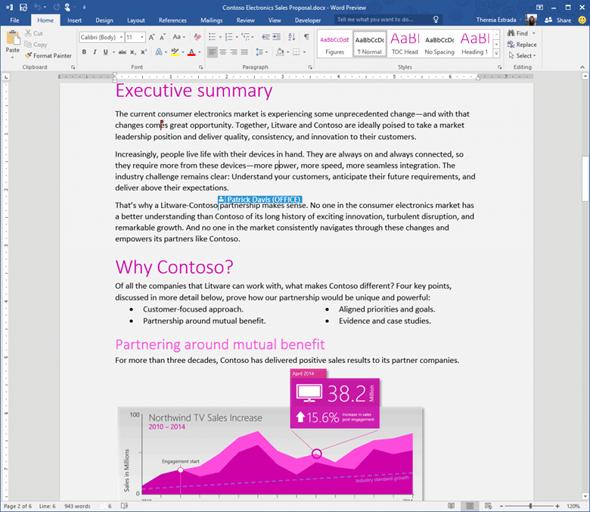 免破解,微軟 Office 2016 免費下載 Word-2016-Preview_Real-Time-Co-auth-1024x889