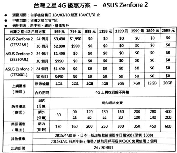 華碩 ZenFone 2 電信資費方案出爐,月租 599 手機 0 元 image_3