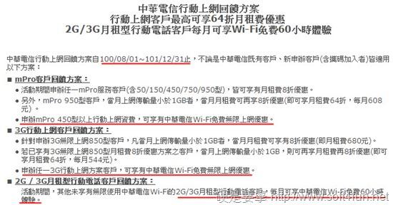 中華電信行動電話公眾Wi-Fi優惠回饋方案