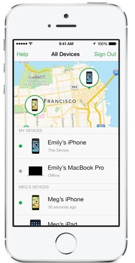 ios 8 新功能-家人共享-手機遺失