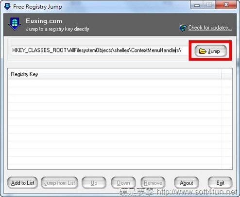 修改登錄檔必備!快速跳到指定資料夾:Free Registry Jump free-registry-jump-01_thumb