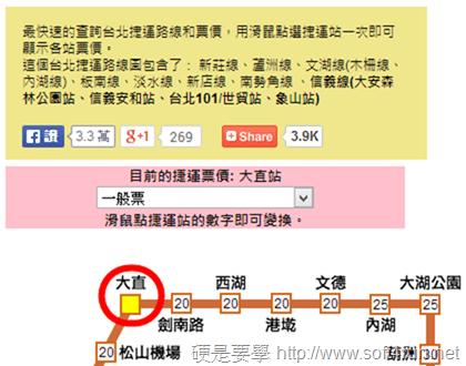 台北捷運票價查詢
