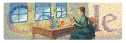 Google Doodle:居禮夫人(Medame Cuire)144歲誕辰 doodle
