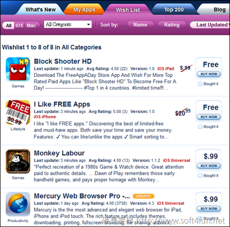 iPhone/iPad 免費應用程式(app)推薦、下載網站,讓你免費 APP 載不完 appshopper_wishlist