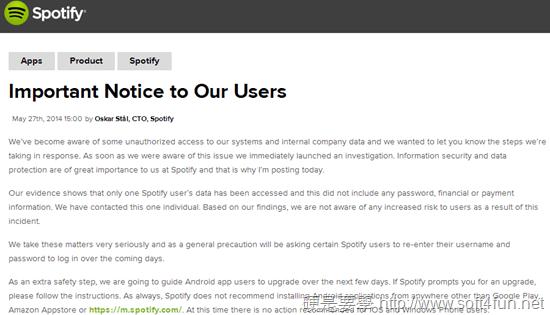 Spotify 系統遭入侵,官方呼籲 Android 的 Spotify 使用者儘速更新 spotify-notice