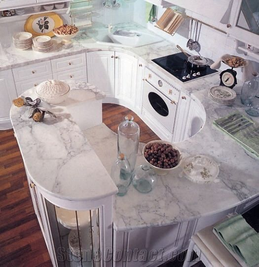 Kitchen Top in Bianco Statuario Statuary White Marble
