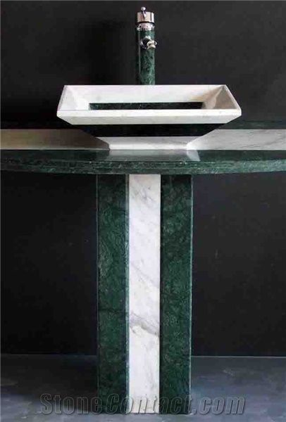 Green Marble Pedestal Sink from China