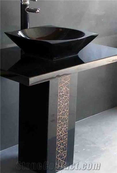 Stone Fireplace Materials Shanxi Black Pedestal Sink From China-103581