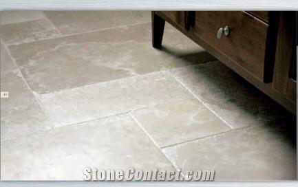 beige limestone floor tile opus pattern