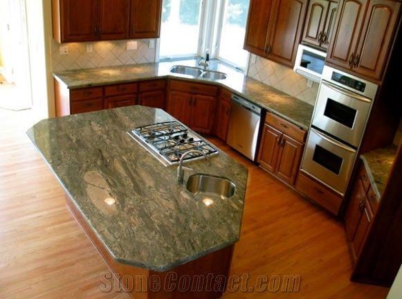 best kitchen countertops cabinet ideas waterfall green granite countertop, island from canada ...
