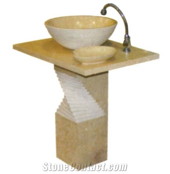 Yellow Marble Pedestal Sink from China