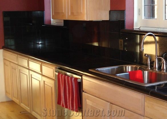 kitchen backsplash tiles islands with breakfast bar black galaxy granite countertop from united kingdom-149473 ...