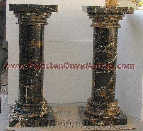 Black and Gold Marble Column from Pakistan  StoneContactcom