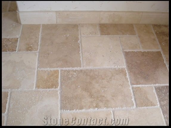 Recycled Material Countertops Noce Travertine Floor Chiseled Edge Pattern From United