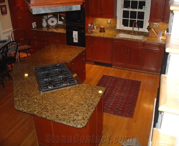 Giallo Fiorito Yellow Granite Kitchen Countertops from