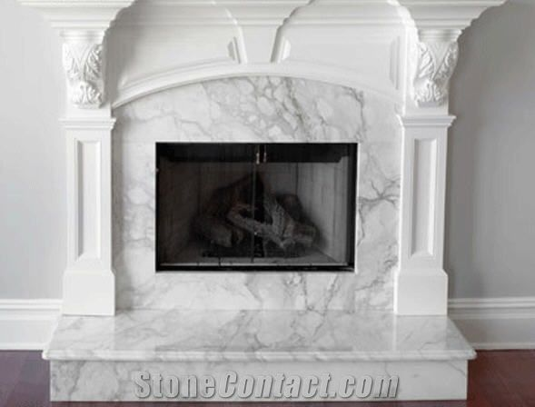 Quartz Stone Fireplace Arabescato Marble Fireplace, White Marble From Lebanon