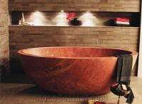 Bath Tub in Red Travertine, Persian Red Travertine from ...