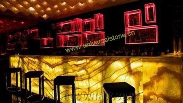 Backlit Orange Onyx Glass Bar Tops from China