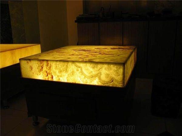 Backlit Orange Onyx Glass Kitchen Countertop  Universal