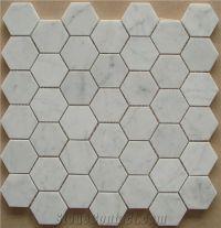 Carrara White Marble Hexagon Mosaic Tiles, Bianco Carrara ...