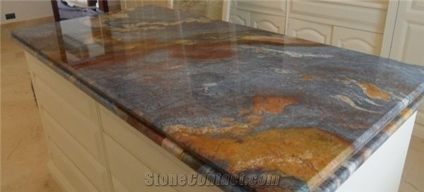 best material for kitchen countertops colorful appliances blue louise quartzite countertop from colombia ...