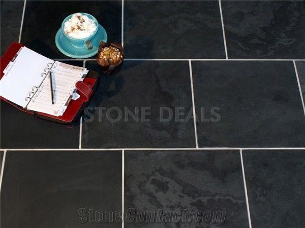 brazilian black slate honed tiles