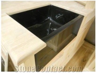 best material for kitchen sink bronze faucets black granite belfast sink, nero assoluto india ...