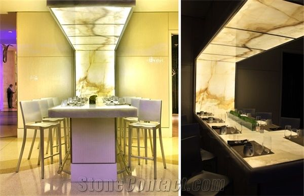 Backlit Onyx Feature Dining Table Yellow Onyx Tables from United States  StoneContactcom