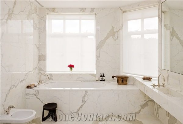 Calacatta Oro Marble Master Bathroom Design Calacatta