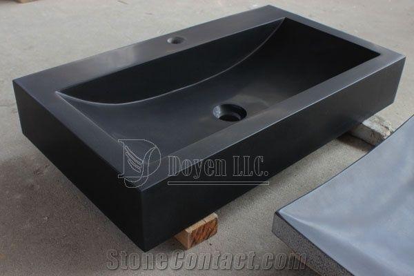 china pure black prefab bathroom honed
