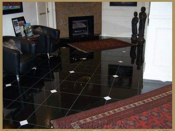 absolute black granite floor tiles