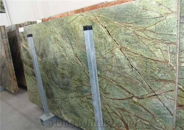 rain forest green marble slabs from