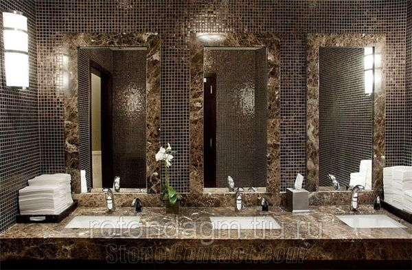 Dark Emperador Marble Commercial Bathroom Top From Russian Federation