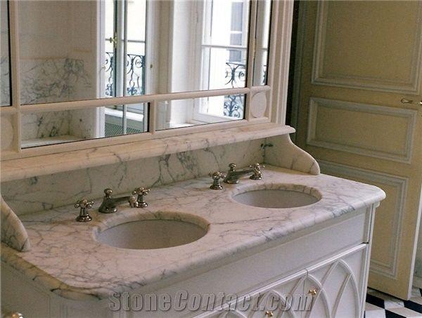 bianco carrara marble double sink bath
