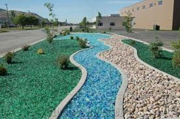 landscaping glass pebbles