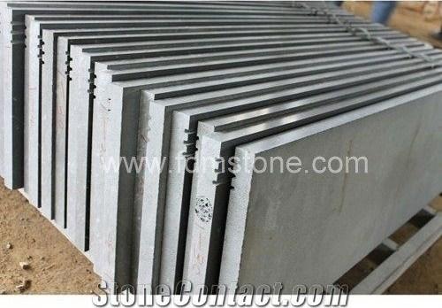Hainan Grey Basalt Step And Stairs Engineered Stone Size Grey | Exterior Stone Stair Treads | Stone Slab | Grey Flagstone Step | Solid Weathered | Carpet Metal Rail Wood Cap | Brick