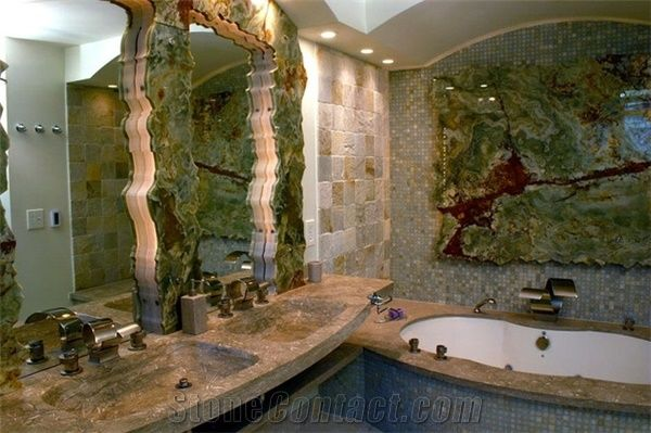 BackLit Multicolor Green Onyx Slabs Glass Mosaic Bathroom Design from United States