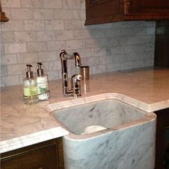 Different Kinds Of Kitchen Countertops Back Splash Ideas For Calacatta Gold Marble Countertop With Solid Sink ...