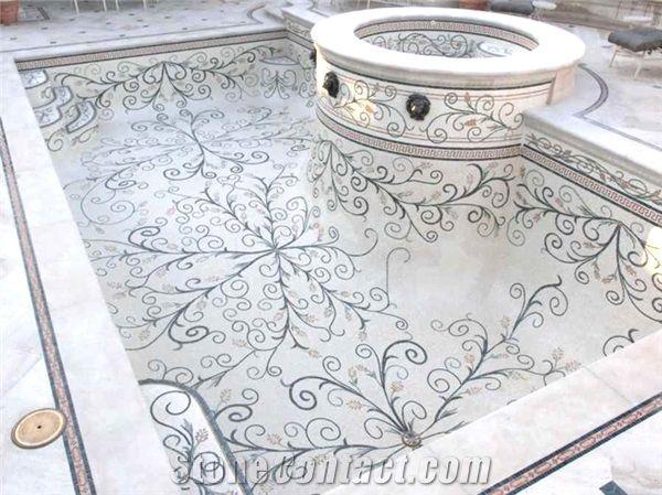 marble mosaic swimming pool spa design