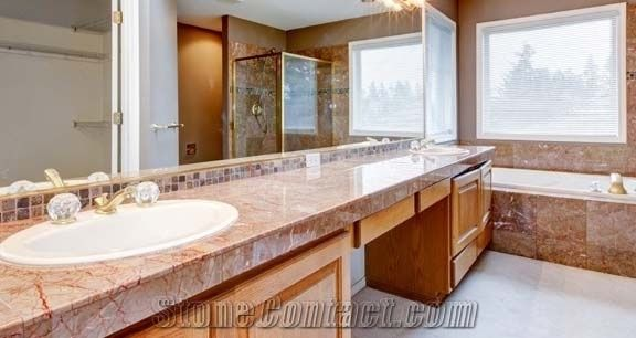 Red Agate Marble Custom Vanity Tops China Red Pink Marble