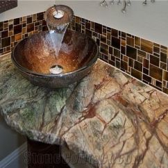 Slate Backsplash In Kitchen Memory Foam Rugs Rain Forest Green Marble Broken Edge Vanity Top From ...