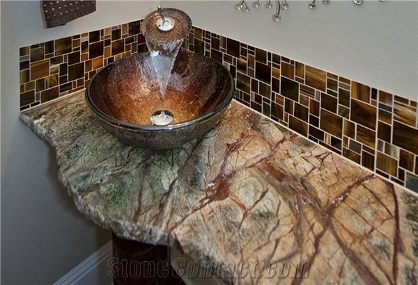 slate kitchen backsplash table and chair sets rain forest green marble broken edge vanity top from ...