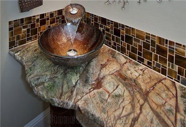 onyx kitchen backsplash china cabinet rain forest green marble broken edge vanity top from ...