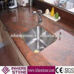 Ceramic Kitchen Top Antique Metal Cabinet Multicolor Red Granite Countertop