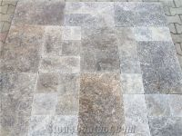 Silver Travertine, Tumbled French Pattern Set, Tiles, Grey ...